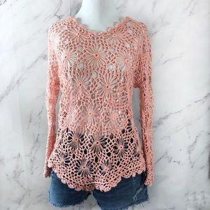 Sundance Pink Chunky Knit Crochet Floral Sweater